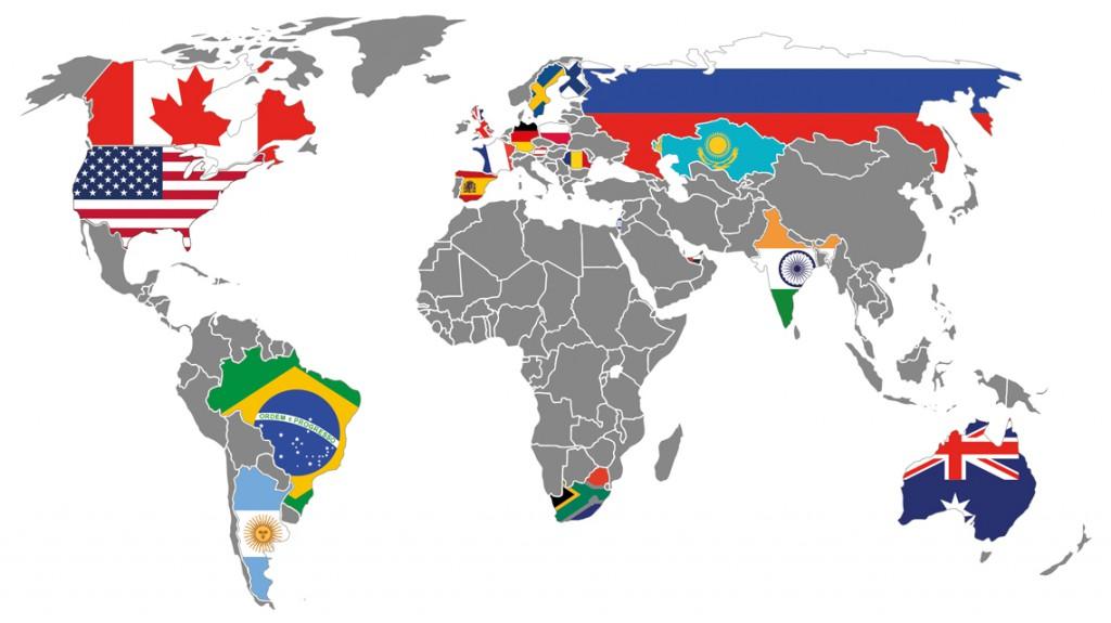 Mapa světa se zákazníky